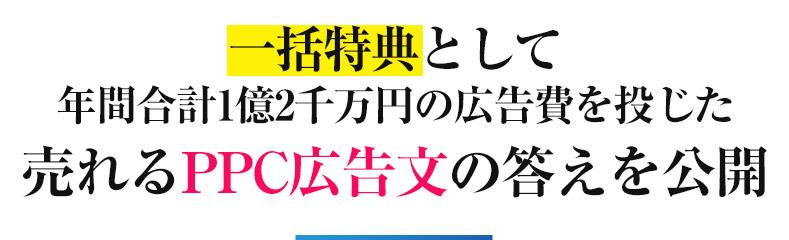 一括特典として 年間合計1億2千万円の広告費を投じた 売れるPPC広告文の答えを公開
